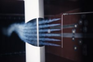 WindGuard Wind Tunnel Bremerhaven: Flow visualisation with smoke tube