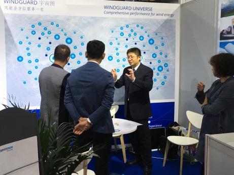 Wang Yang at the Deutsche WindGuard Booth at China Wind Power 2017