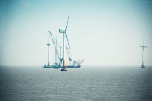 Construction works at Shanghai offshore wind farm