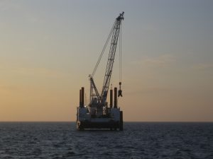 Jack-up installation vessel on the seas
