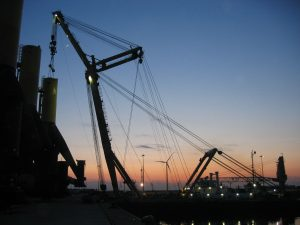Picture of lifting foundations on a jack-up vessel