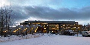Picture of the Polaria Museum in Tromsoe in evening light in early winter.