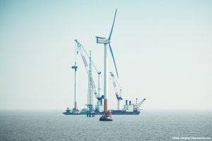 Offshore wind farm contstruction near Shanghai