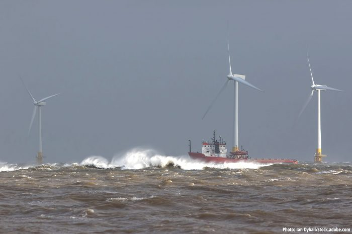 Offshore wind park in rough sea