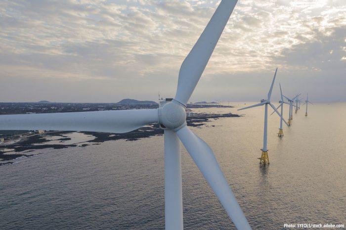 Offshore wind turbines near Jeju Island in South Korea