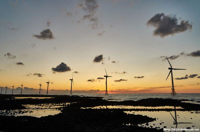 Offshore wind farm near Jeju Island in South Korea
